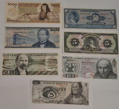 Banknotes of Mexico 7 Banknote Lot Crisp Uncirculated