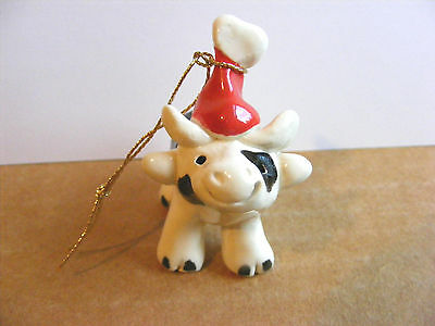 Little Guys Santa Cow Retired Christmas Ornament Miniature Cindy Pacileo Pottery