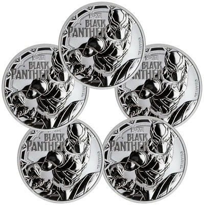 Lot of 5 2018 Tuvalu Black Panther 1 oz Silver Marvel $1 BU Coins Caps SKU52234