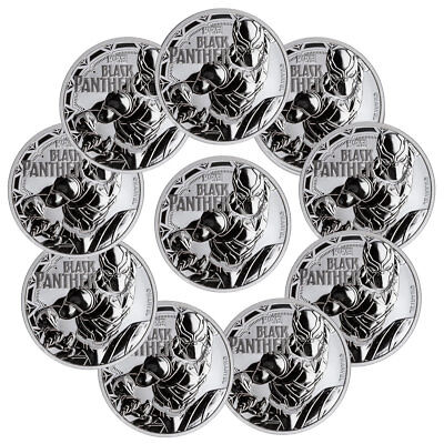 Lot of 10 2018 Tuvalu Black Panther 1 oz Silver Marvel $1 BU Coins Caps SKU52235