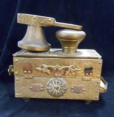 Antique Middle Eastern Ottoman Turkish Persian Ornate Shoe Shine Stand Box