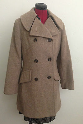 Vintage 1970's Wool Women's Double Breasted Tan Peacoat by Sears-S/M