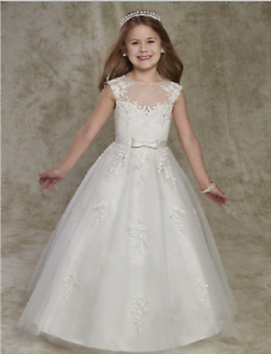 bc21cec7a Holy Flower Girl Dresses Cap Sleeves A Line V First Communion Dress Party  Dress