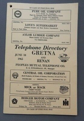 1965 Gretna & Renan Virginia Telephone Book Directory -  VA