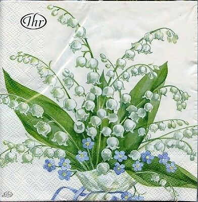 2 pkgs Lily of the Valley Flowers Paper Cocktail Napkins 20 pk
