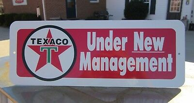 TEXACO Under New Management SIGN SERVICE STATION Fire Chief GAS PUMP HOT ROD