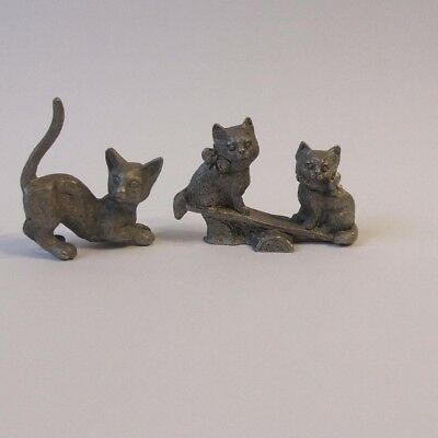 Pewter Crouching Cat Kitty and Spoontiques Cats Kittens on Seesaw Figurines