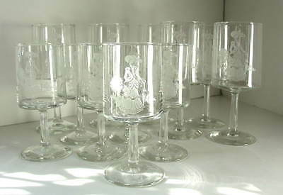 RARE 1970's Mrs Albee Award 12 Etched Stemmed Wine Glasses in original box