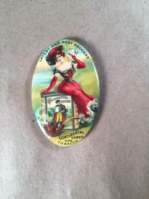 Antique Advertising Celluloid Pocket Mirror Continental Cubes Pipe Tobacco