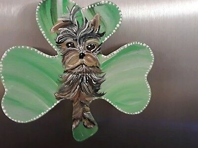 Yorkie Yorkshire terrier hand painted magnet st Patrick's day clover art ooak
