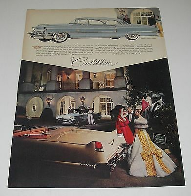 Print Ad 1956 CADILLAC Coupe DeVille at Greenbrier Gowns by Lanvin Castillo