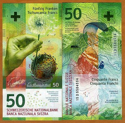 Switzerland, 50 Francs, 2015, P-New,  Hybrid Polymer, UNC