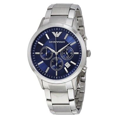 Emporio Armani Men Watch Chronograph Navy Blue Dial AR2448 Stainless New In Box
