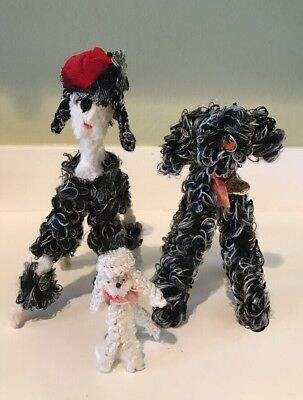 vintage pipe cleaner poodles And Dog Lot Of 3