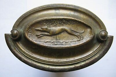6 Greyhound Antique Period Hepplewhite Brass Hardware Oval Drawer Chest Pull