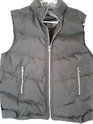 NY&Co. Womens Black Down puffy full zip VEST with hidden Hood size M Medium