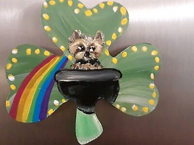 Yorkie Yorkshire terrier hand painted magnet st Patrick's day clover art ooak 2