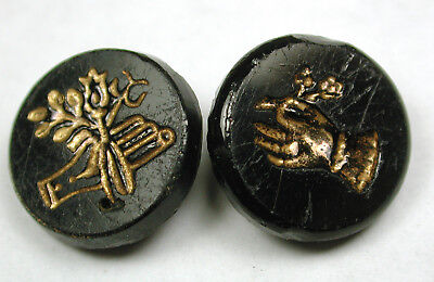 2 Antique Black Glass Buttons Hand Holding Flowers w/ Gold Luster - 5/8""