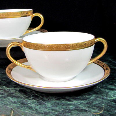 Vintage ROYAL BAYREUTH Soup Bowl Saucer (2) Gold Encrusted Grape & Leaf Pattern