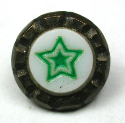 """Antique Glass in Metal Button Green Star on White w/ Brass Border - 7/16"""""""