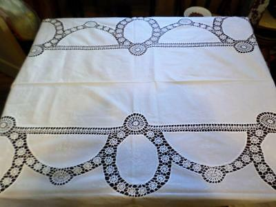 Heirloom Antique White Cotton Cutwork & Crochet Embroidered Tablecloth 120 X 62""