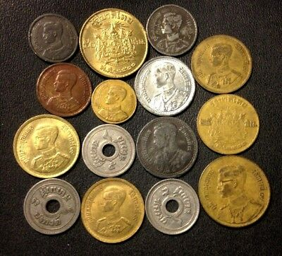 Old Thailand Coin Lot - 1929-1957 - 15 High Quality Older Coins - Lot #J18