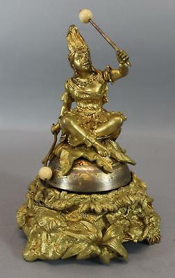 RARE Antique Figural Mechanical Gilded Bronze Counter Bell American Indian Woman