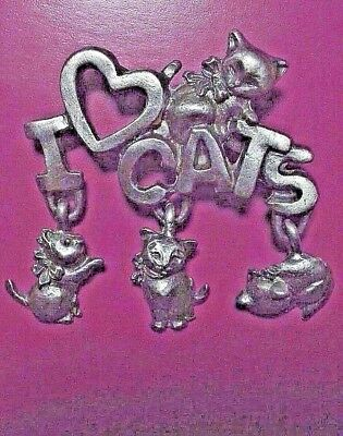 I LOVE CATS KittenCats PinBrooch Pewter Spoontiques FREE SHIPPING