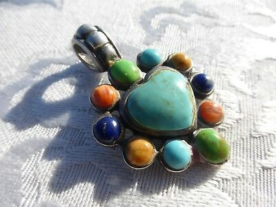 WONDERFUL Sterling Silver TURQUOISE CORAL LAPIS HEART Pendant Amazing detail