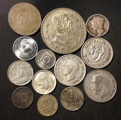 Vintage WORLD Silver Coin Lot - 1900-1967 - 13 Silver Coins - Lot #D22