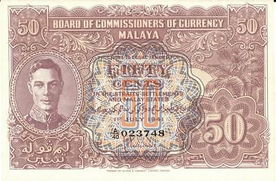 Malaya 50 Cents Currency Banknote 1941 CU