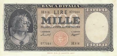 Italy 1000 Lire Currency Banknote 1959  VF/XF