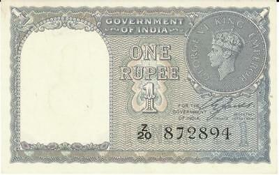 India 1 Rupee Currency Banknote 1940 CU - No Pin Holes