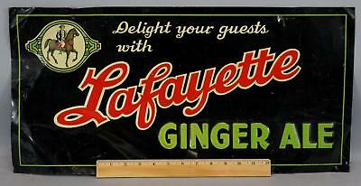 Antique Pre-1920s Lafayette Ginger Ale Soda Advertising Pressed Tin Sign NR