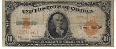 1922 $10 Ten Dollar Gold Certificate Very Good