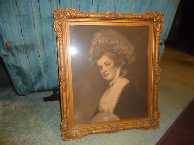 Vintage Carved Wood  Ornate Picture Frame  W/ FRENCH VICTORIAN LADY WOMAN IN HAT