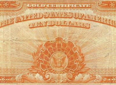 Large 1922 $10 Dollar Bill Gold Certificate Coin Note Big Currency Paper Money