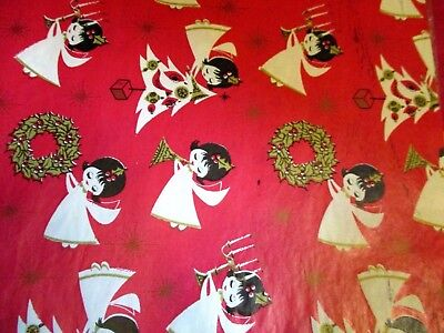 VTG Christmas Red Wrapping Paper Mid-Century  Angels with Trees Wreath Gold