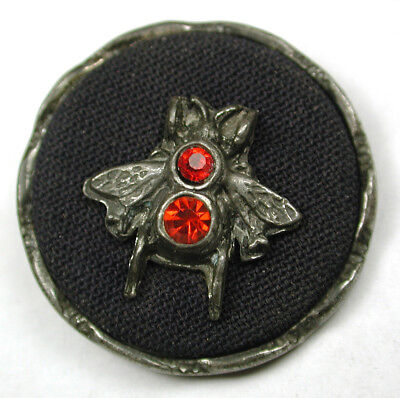 """Antique 3 Material Button Pewter Glass & Fabric Housefly Insect Design 1 & 3/16"""""""
