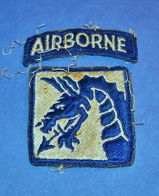 """SALTY"" ORIGINAL CUT-EDGE WW2 18th AIRBORNE CORPS PATCH + TAB OFF UNIFORM"