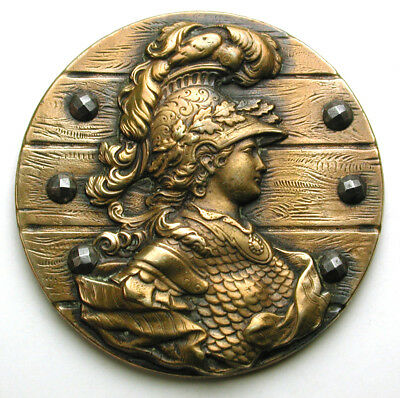 """Antique Brass Button Catherine the Great as Minerva w Cut Steel Accents 1 & 3/8"""""""