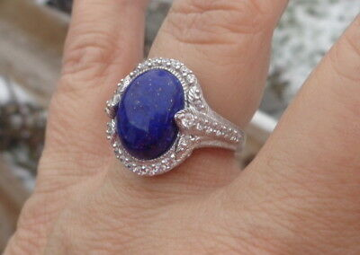 Judith Ripka Sterling 5Ctw Oval Lapis Lazuli Diamonique Cz Ring Size 7 A Beauty