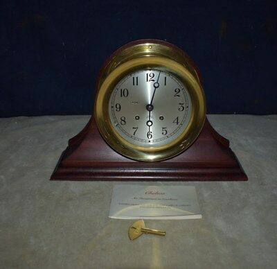 Best! Large Chelsea Ships Bell Brass Case Clock W/mahogany Stand - Free Shipping
