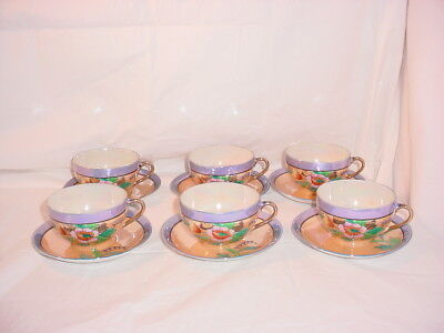 Vtg Tea Cups Saucer Set of 6 TT Floral Iridescent Lusterware Japan Porcelain