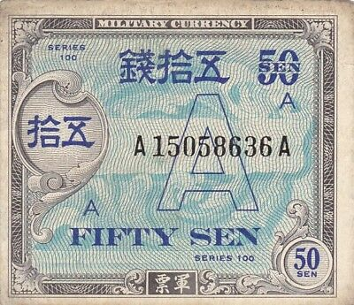 "1946 Japan 50 Sen ""A"" Underprint Allied Military Currency Note, Pick 64"