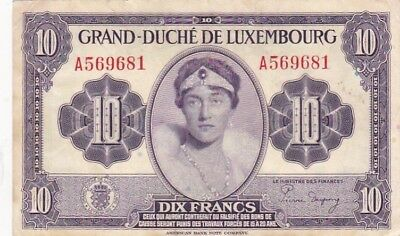 1944 Luxembourg 10 Francs Note, Pick 44a
