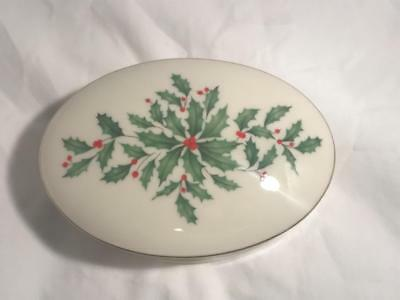 Vintage Lenox Pierced Oval Box With Lid In Holiday Dimension~Trinket Box