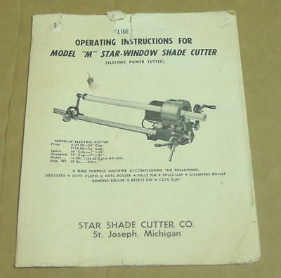 Vintage Operating Instructions/Parts List for Model M Star Window Shade Cutter