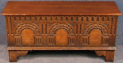 Titchmarsh & Goodwin Jacobean Style Small Carved Oak Coffer Blanket Box RL57/A