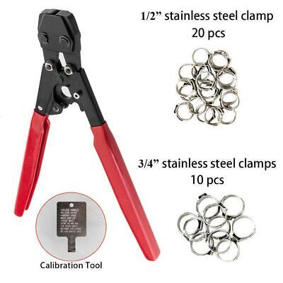 """PEX Cinch Crimper w/ 30PCS Stainless Steel Clamps 3/8""""- 1"""" Fastening Tool New"""